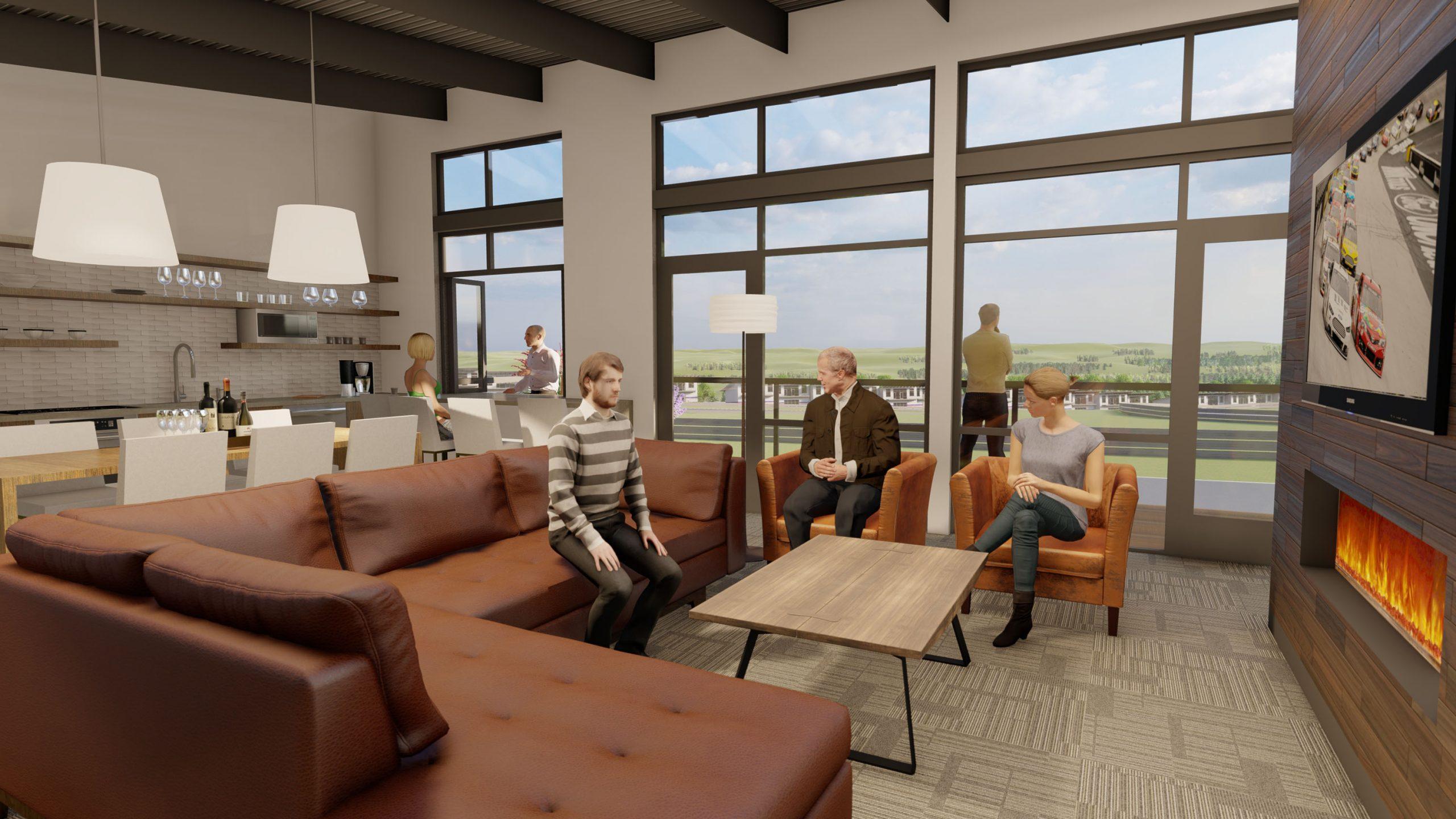 Autominiums condo rendering interior lounge space