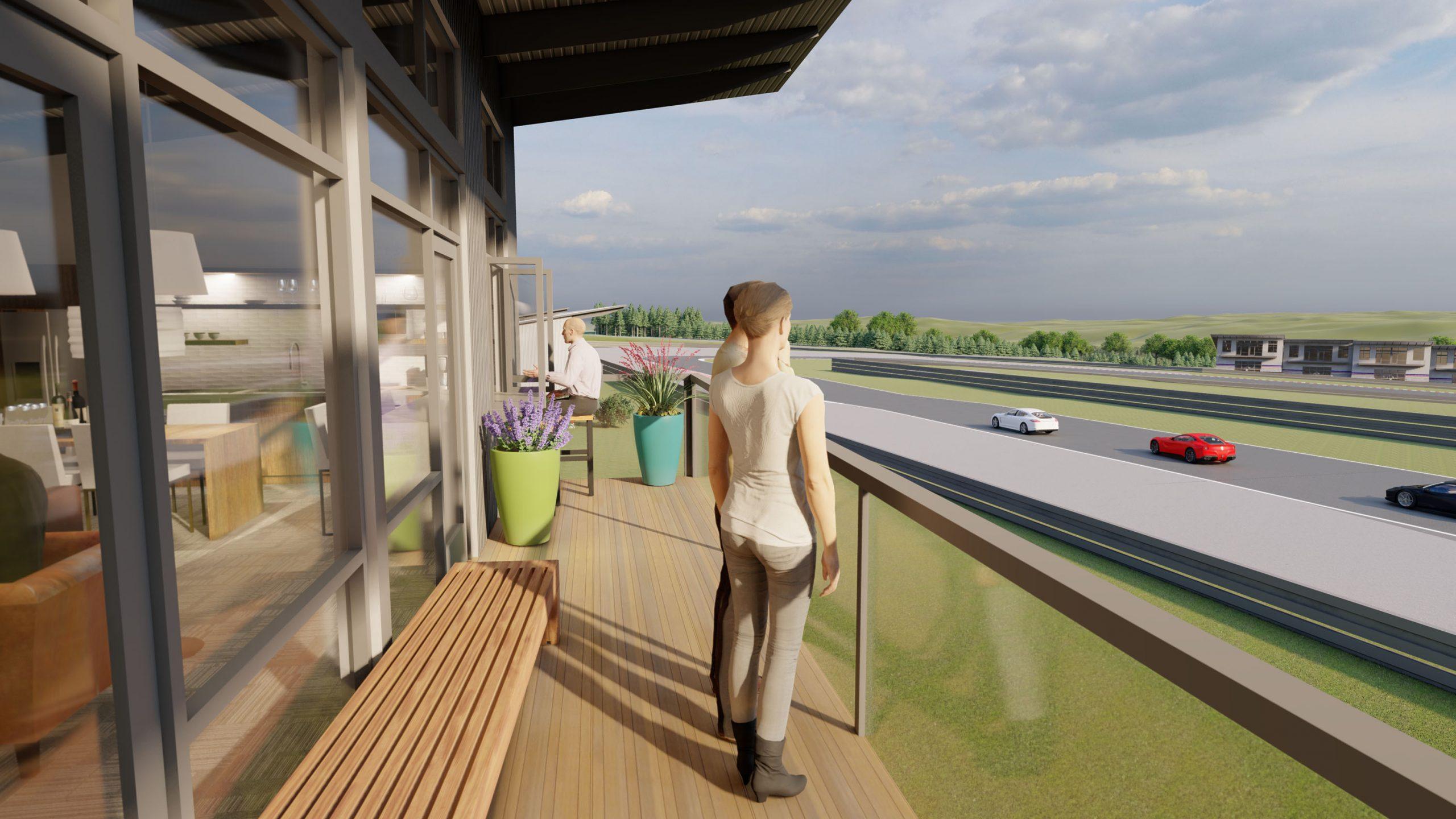 Autominiums condo rendering porch overlooking track
