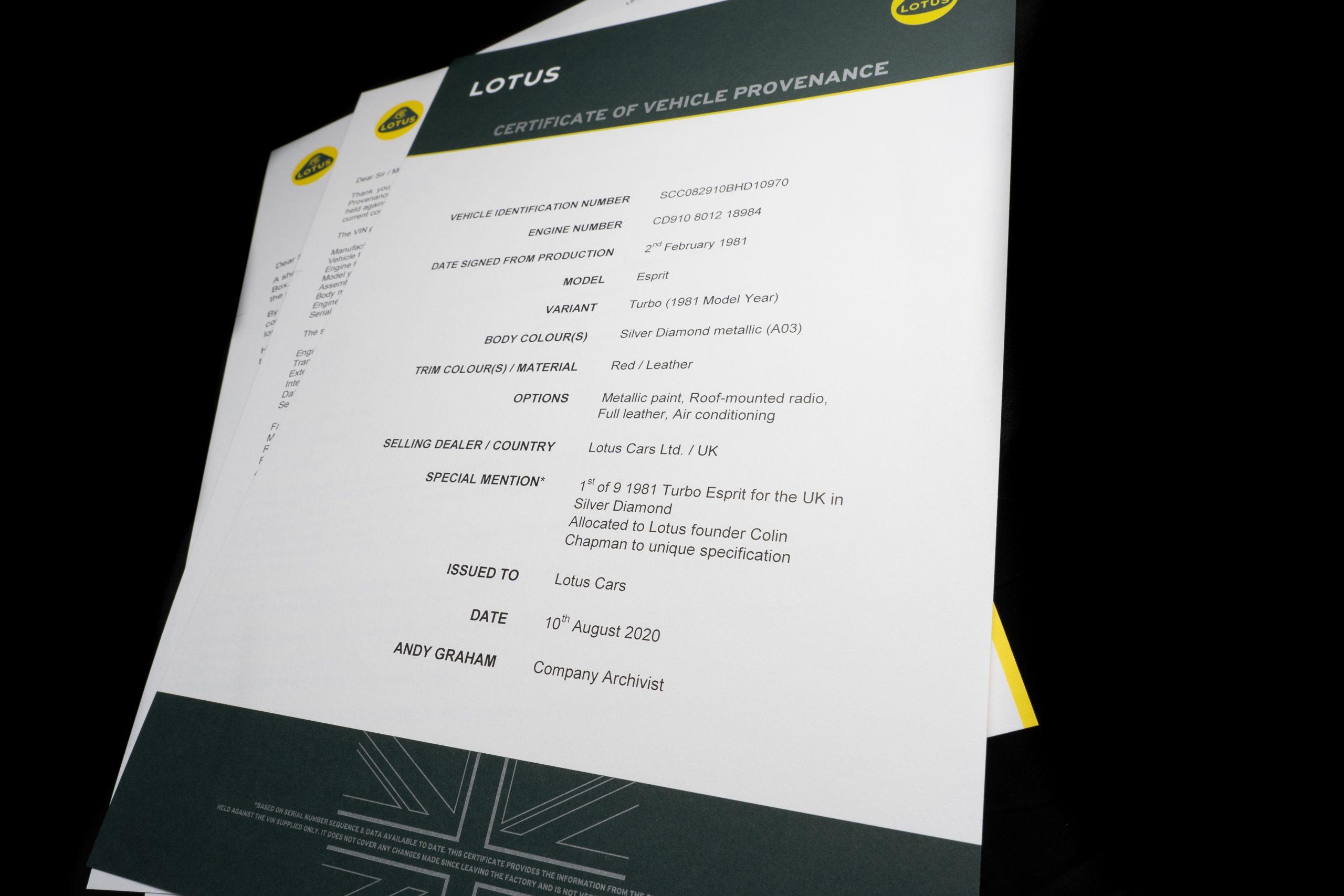 Lotus Esprit specs provenance certificate