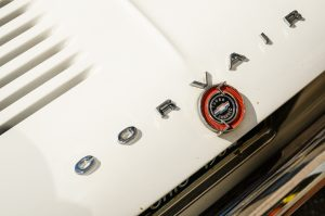 White Corvair Turbocharged Badge