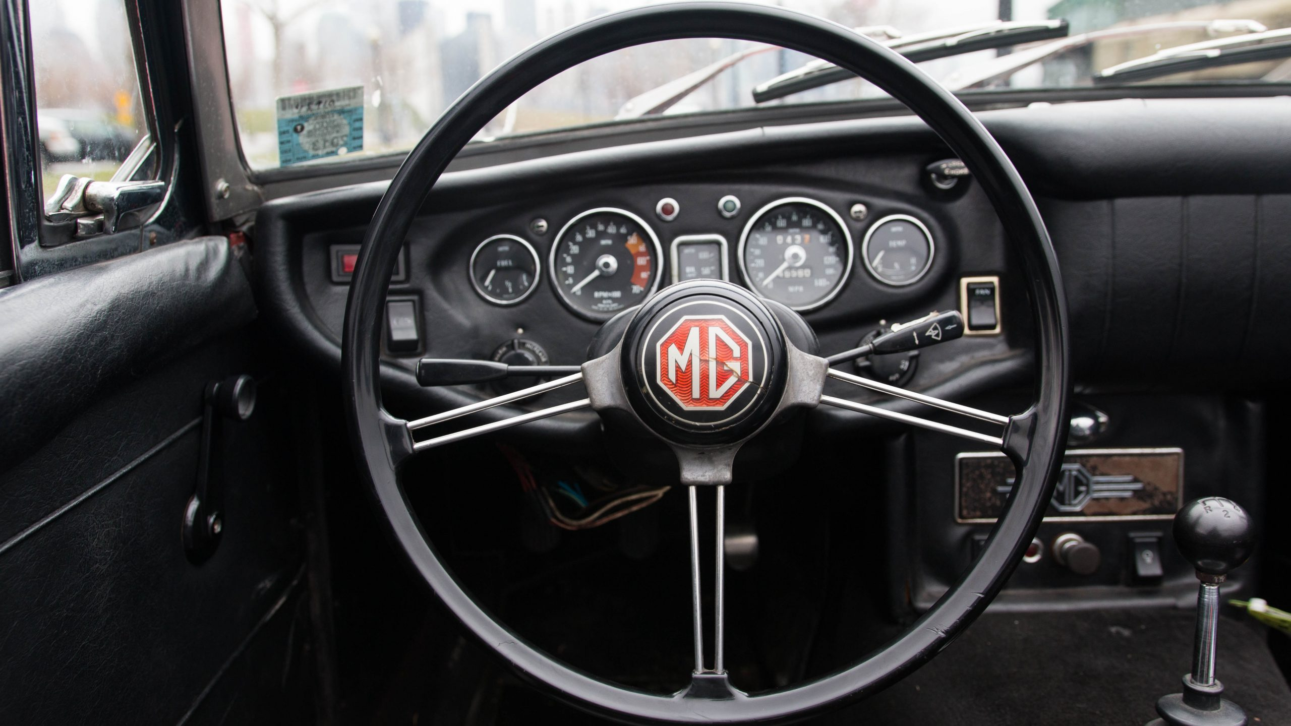 1969 MG MGC interior steering wheel detail