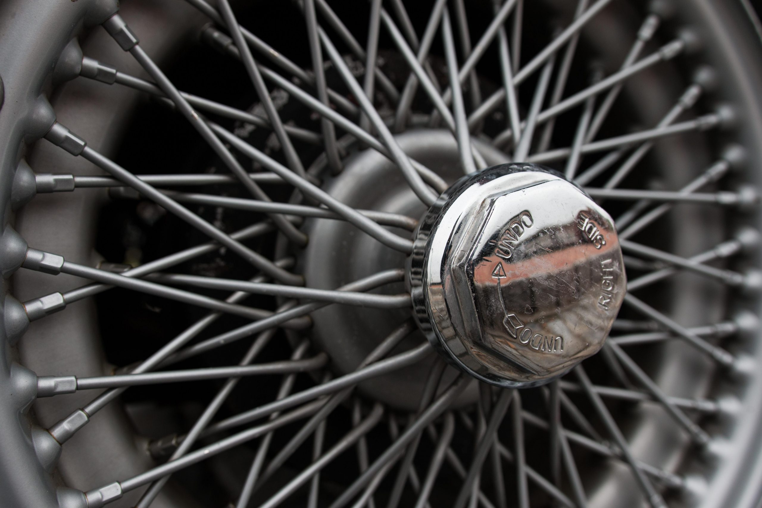 1969 MG MGC wheel spokes and hub detail