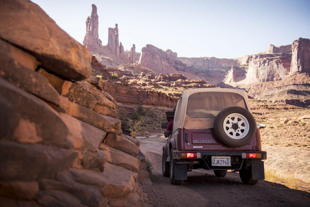 suzuki samurai Canyonlands Moab Utah rear dynamic trail action