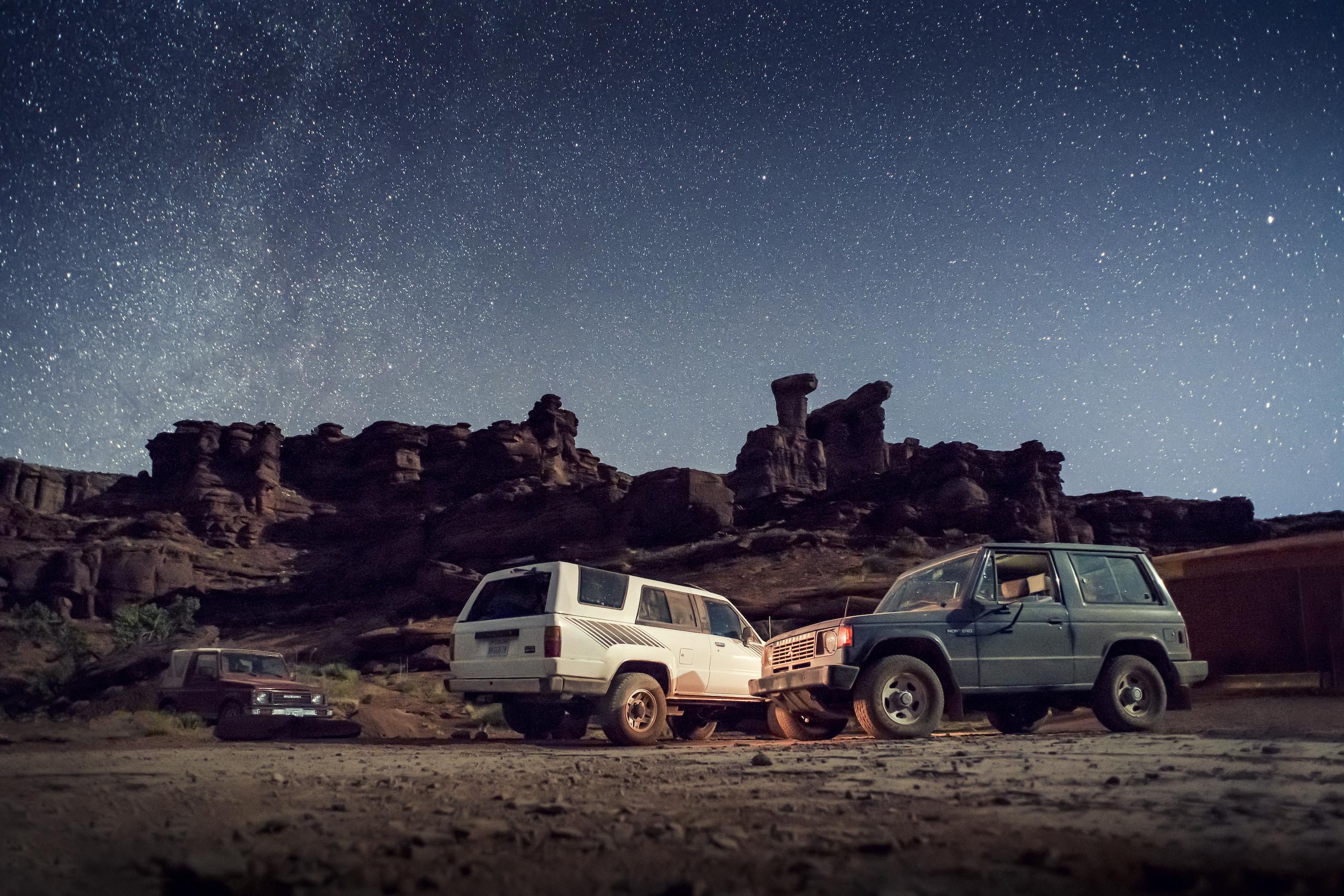 Mitsubishi Montero Suzuki Samurai Toyota 4Runner Canyonlands Moab Utah under stars