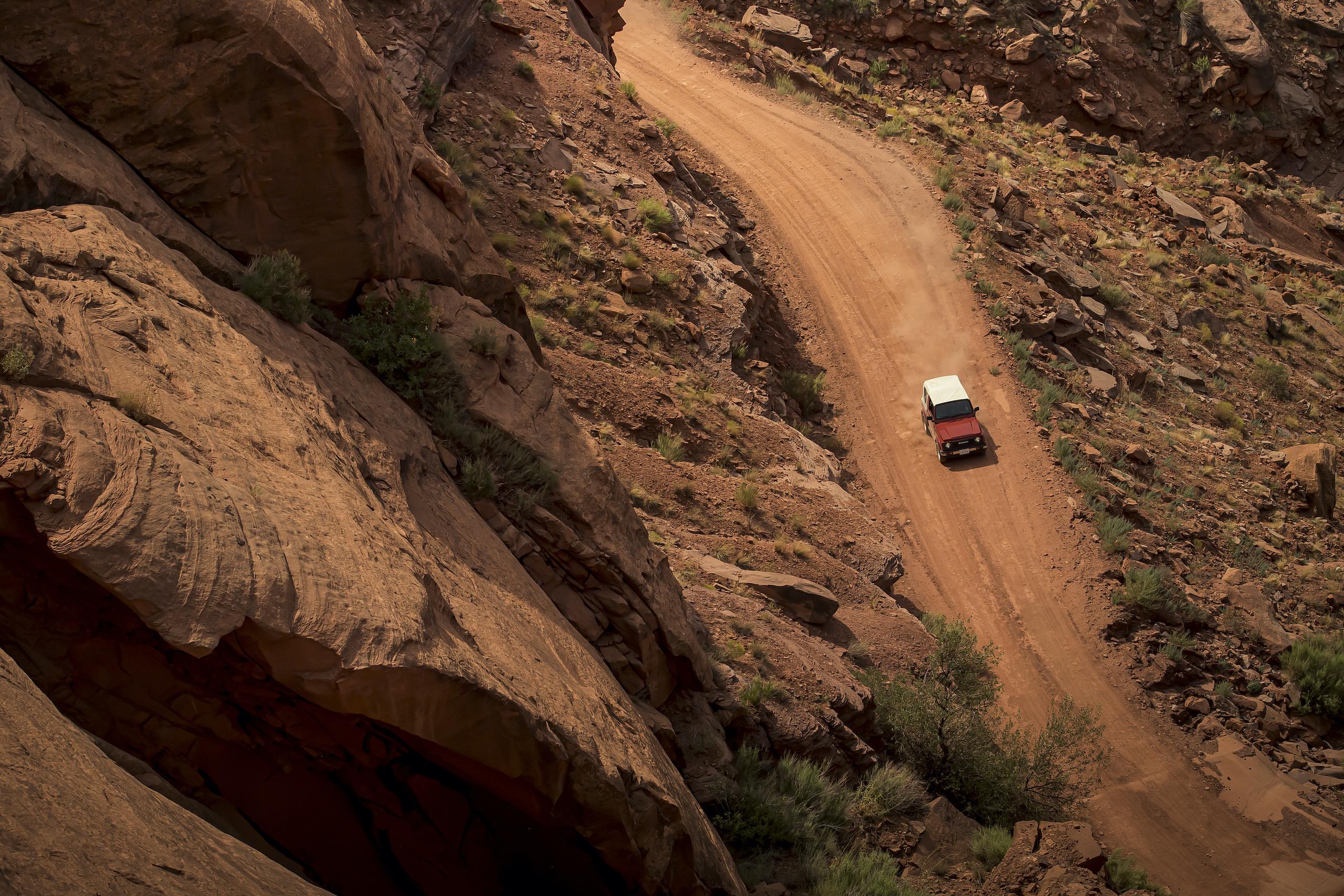 Suzuki Samurai aerial overhead Canyonlands Moab Utah