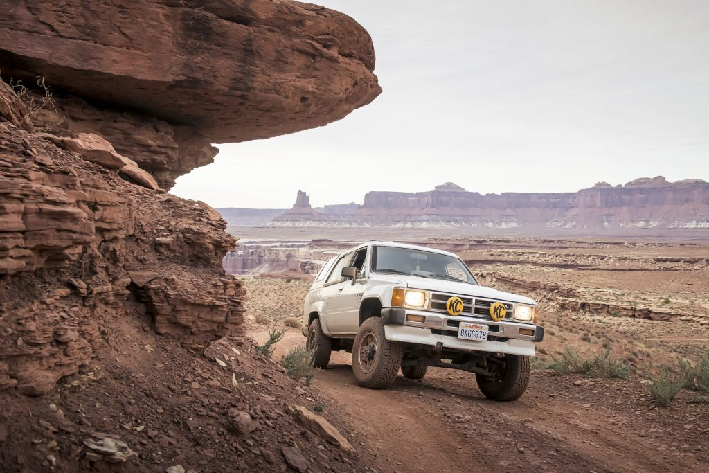 Toyota 4Runner Canyonlands Moab Utah front three-quarter dynamic trail action
