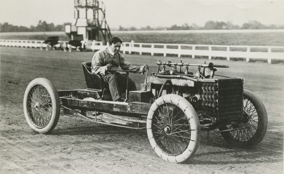 barney oldfield behind wheel of 1902 Ford 999 Race Car
