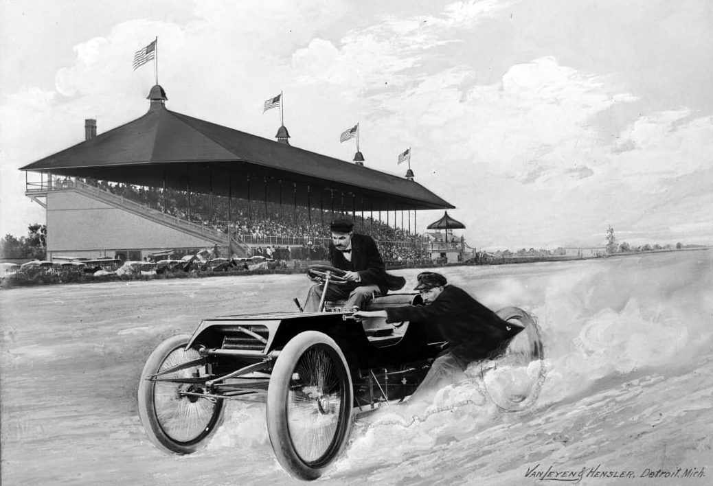 Composite Image Depicting Henry Ford and Spider Huff Driving the Sweepstakes Racer at Grosse Pointe Racetrack 1901