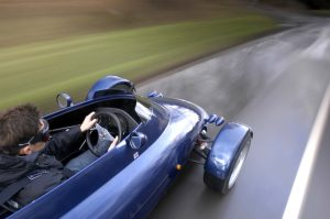 Rocket car overhead dynamic road action