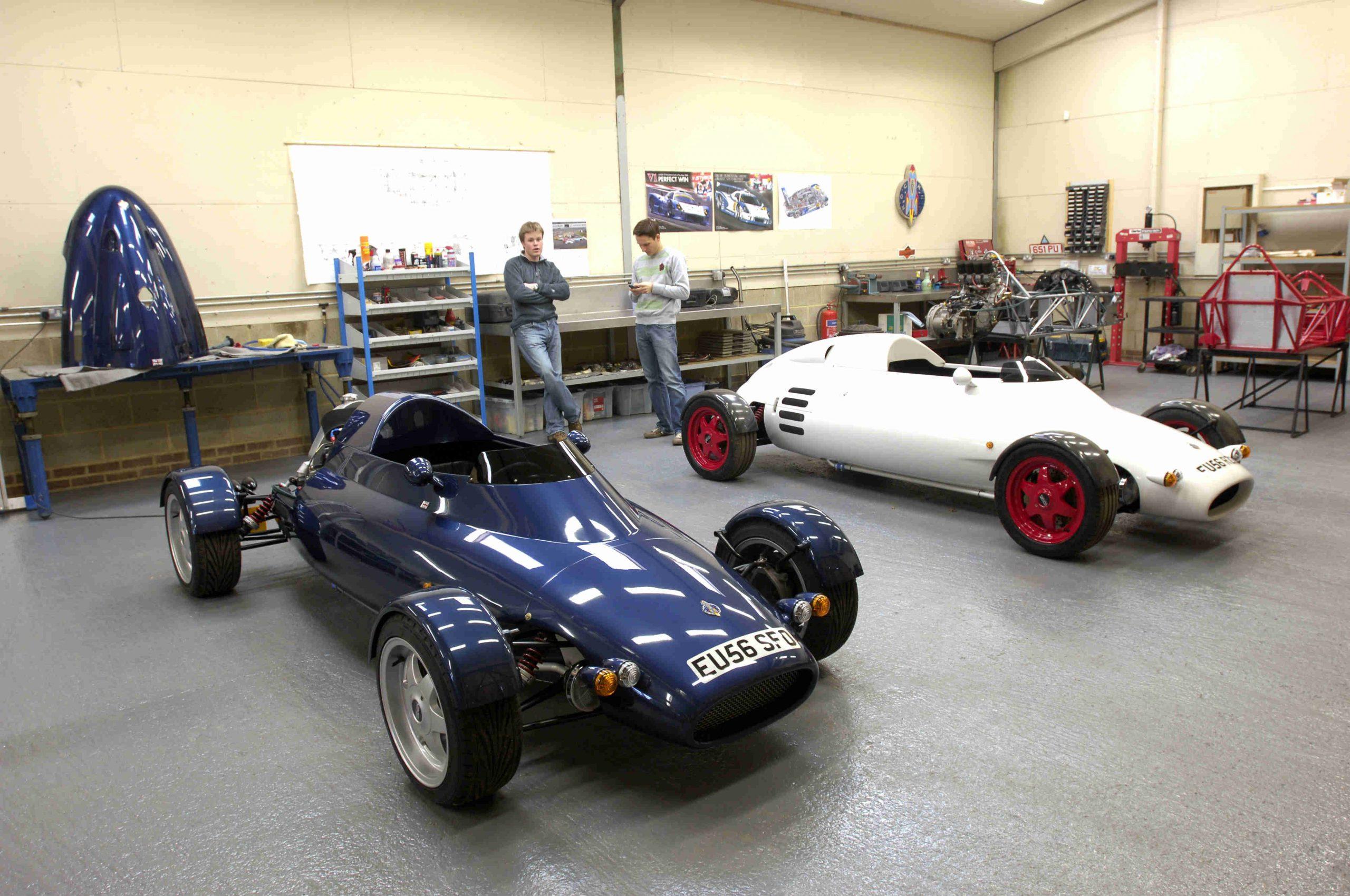 Rocket car parked in garage