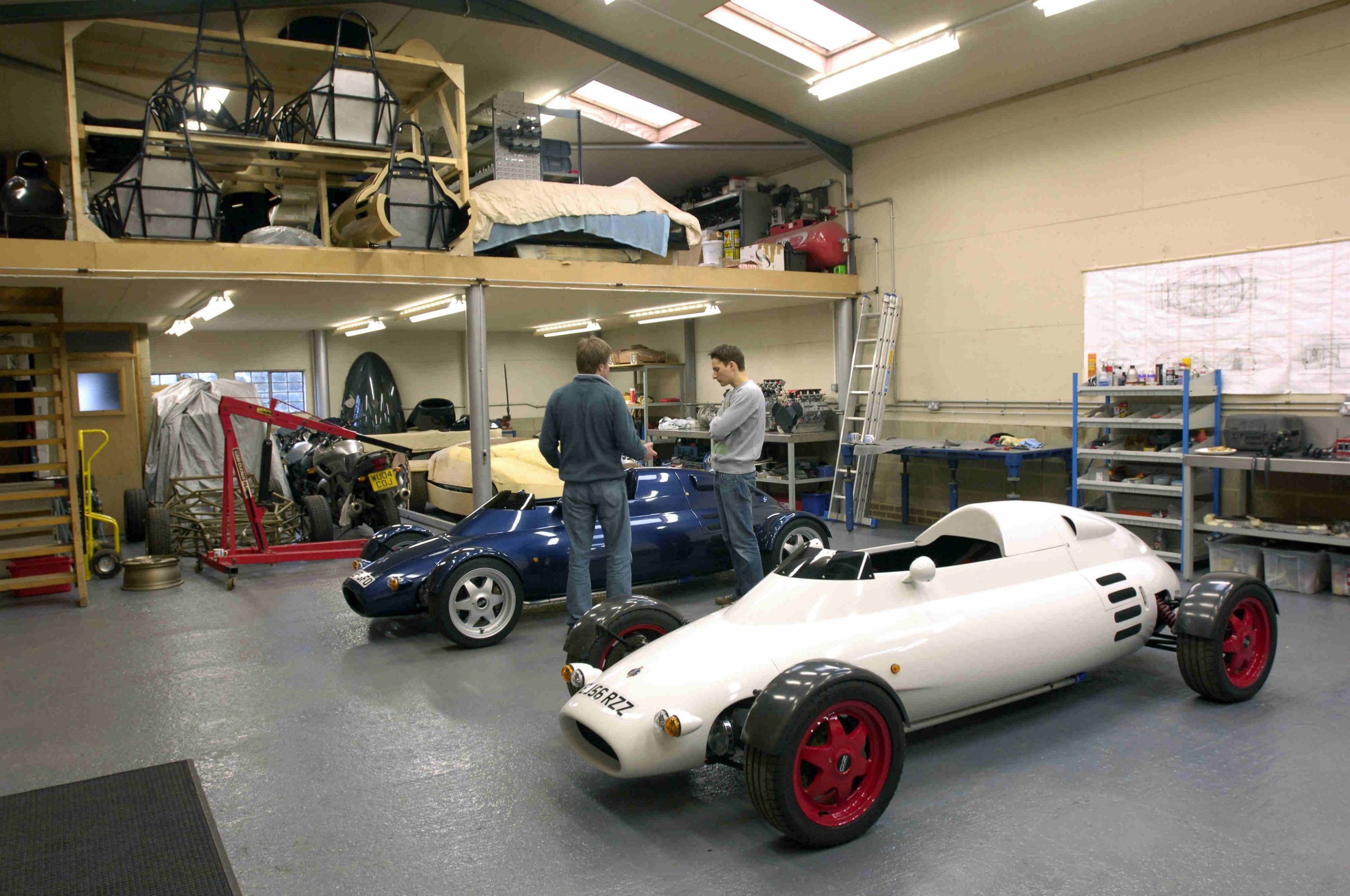 Rocket cars parked in garage