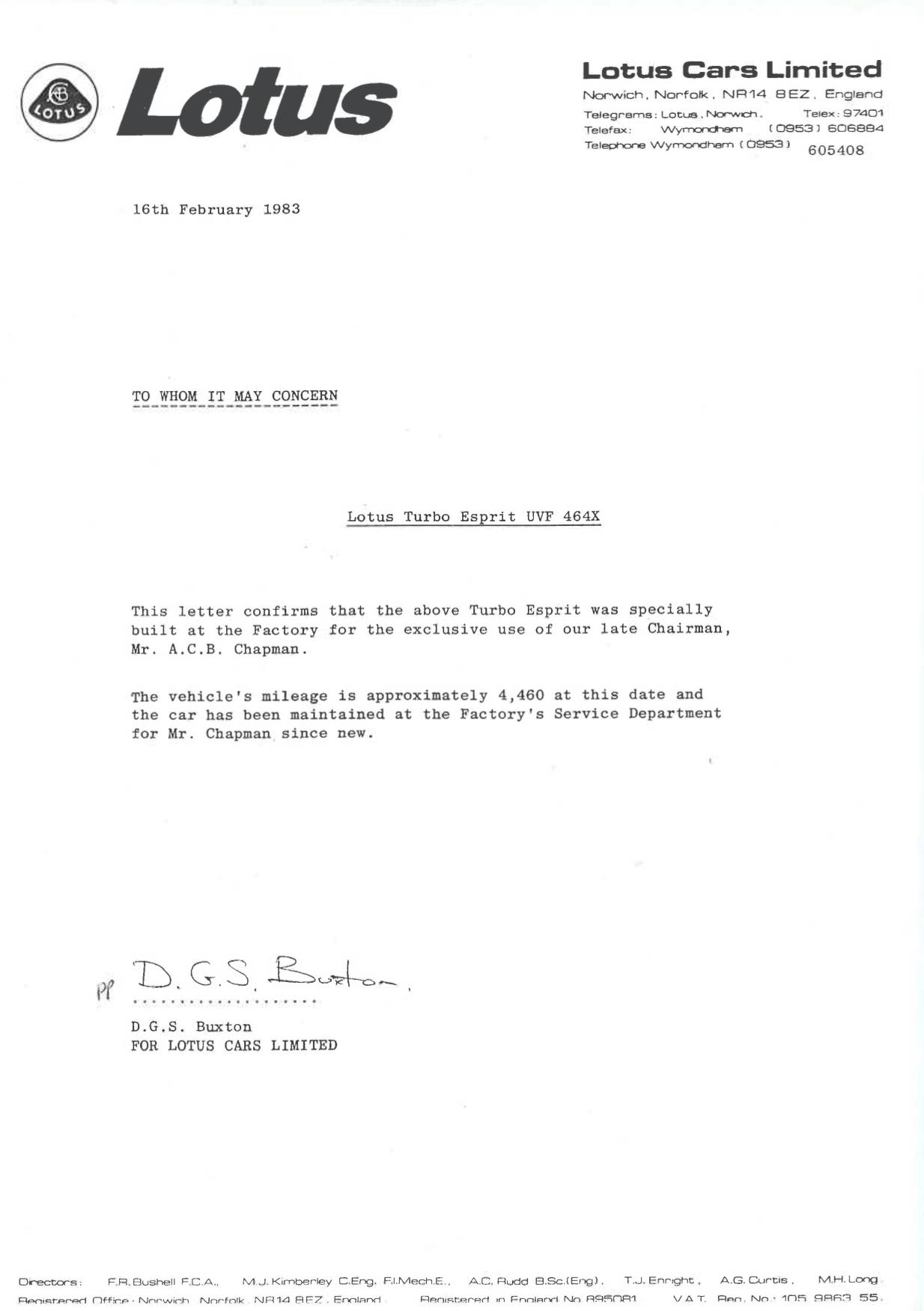 Lotus Esprit letter provenance certificate