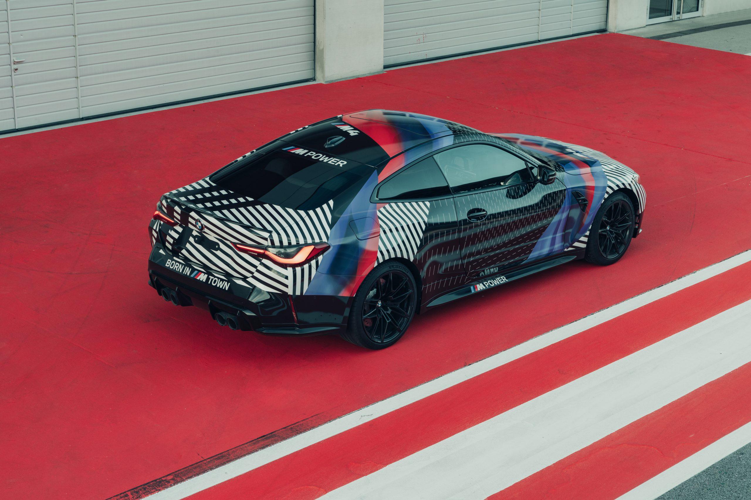2921 BMW M4 rear three quarter prototype August 2020
