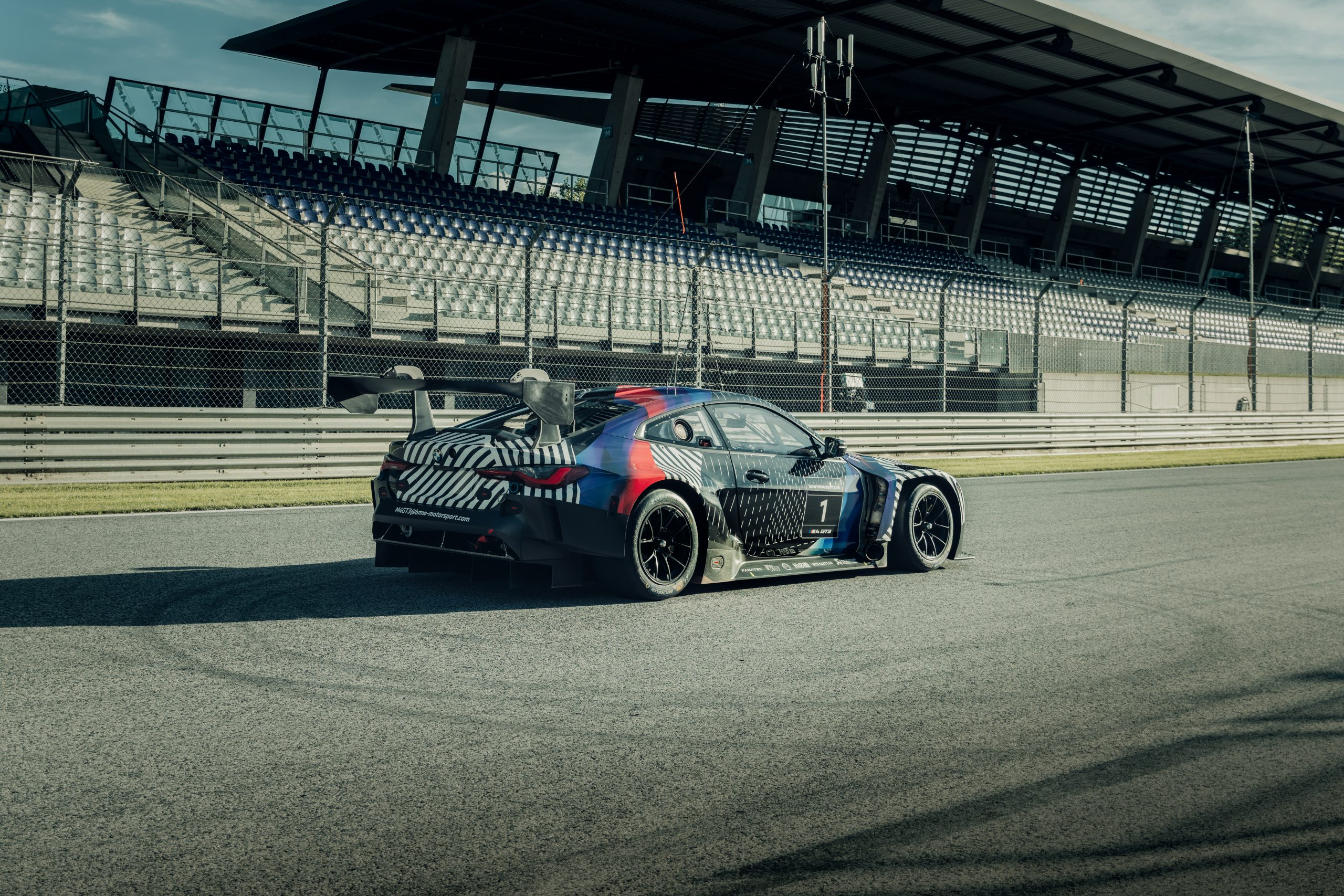 2021 BMW M4 GT3 prototype rear three quarter Red Bull Ring August 2020