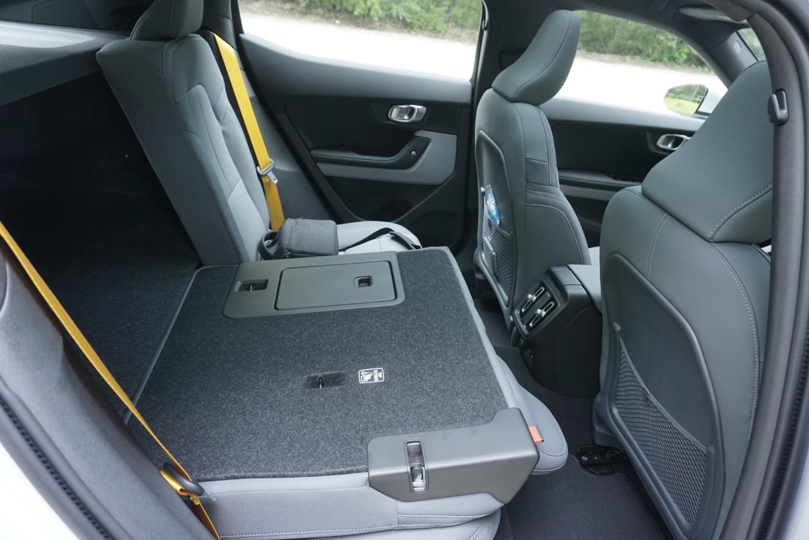 Polestar 2 interior rear seat folded