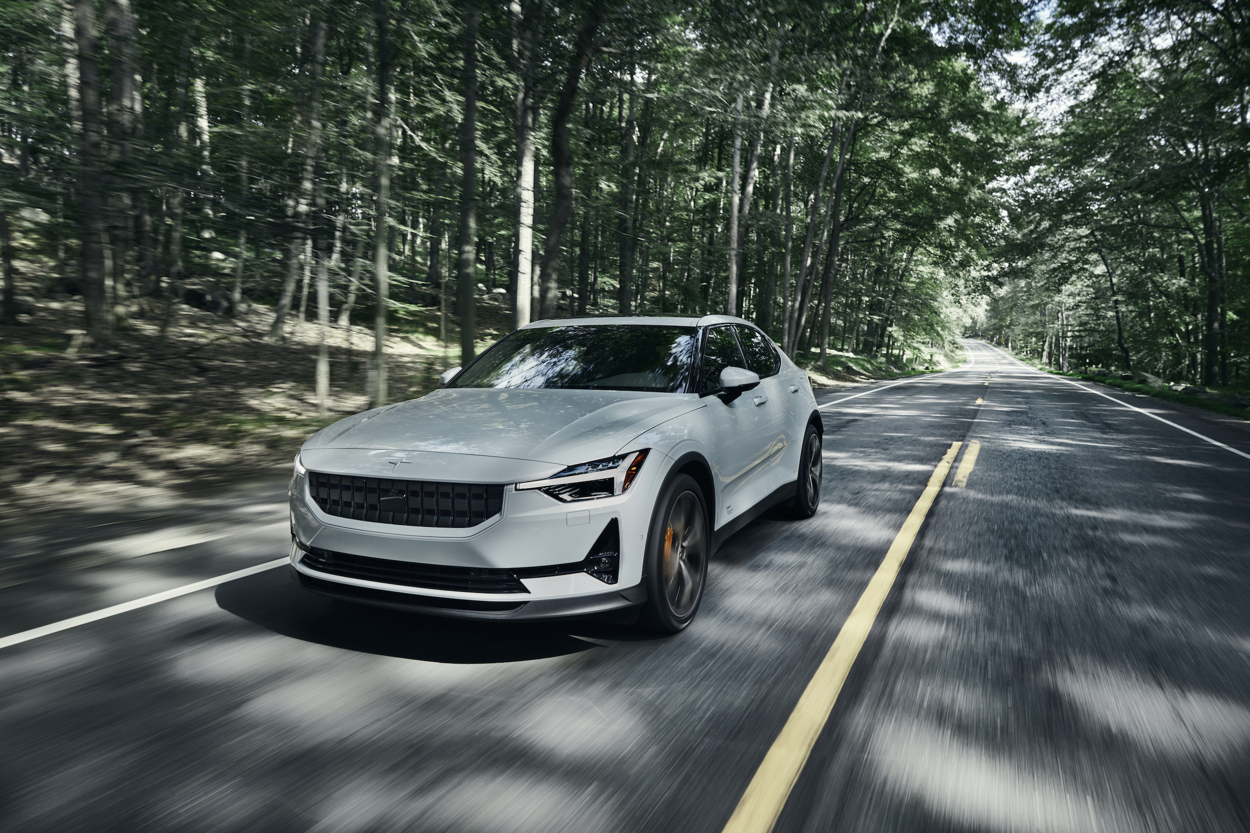 Polestar 2 front three-quarter dynamic action