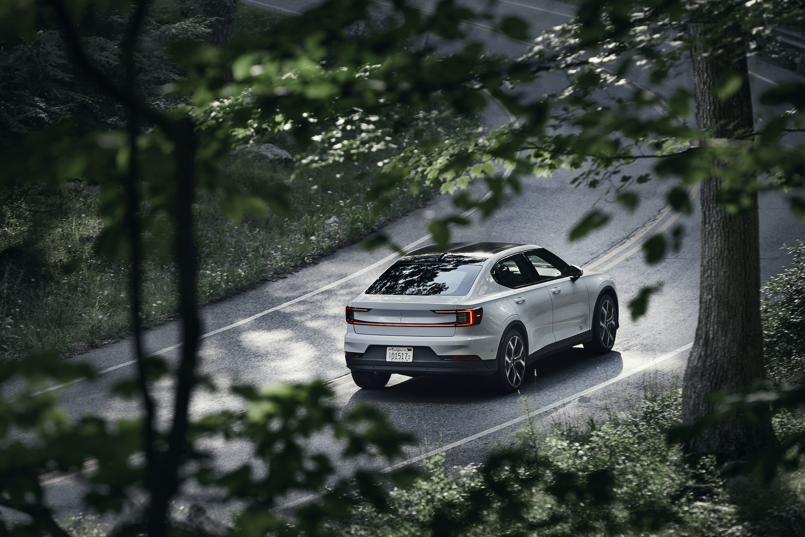 Polestar 2 elevated rear three-quarter dynamic road action