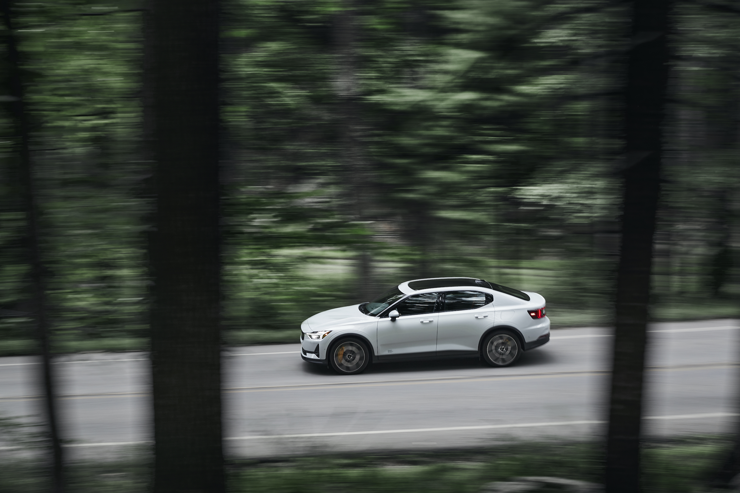 Polestar 2 elevated profile dynamic road action