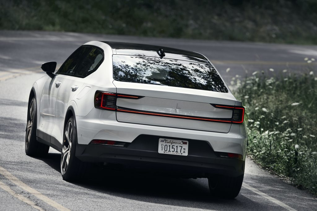 Polestar 2 rear three-quarter close dynamic road action