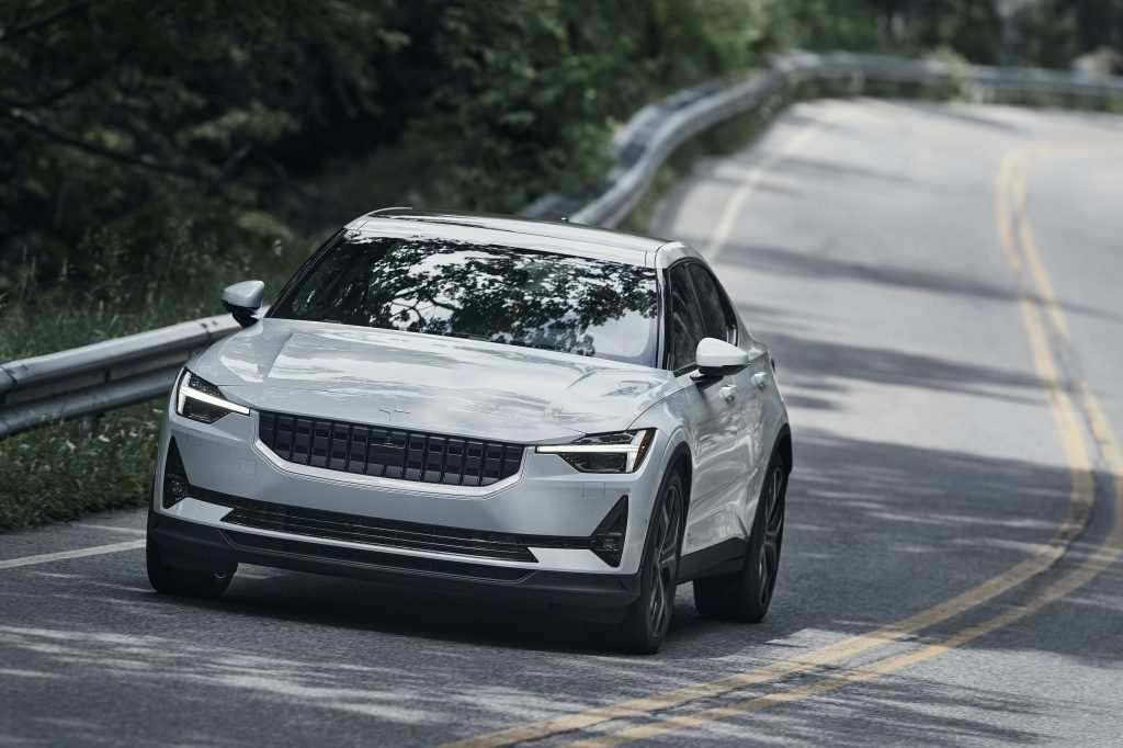 Polestar 2 front three-quarter close dynamic road action