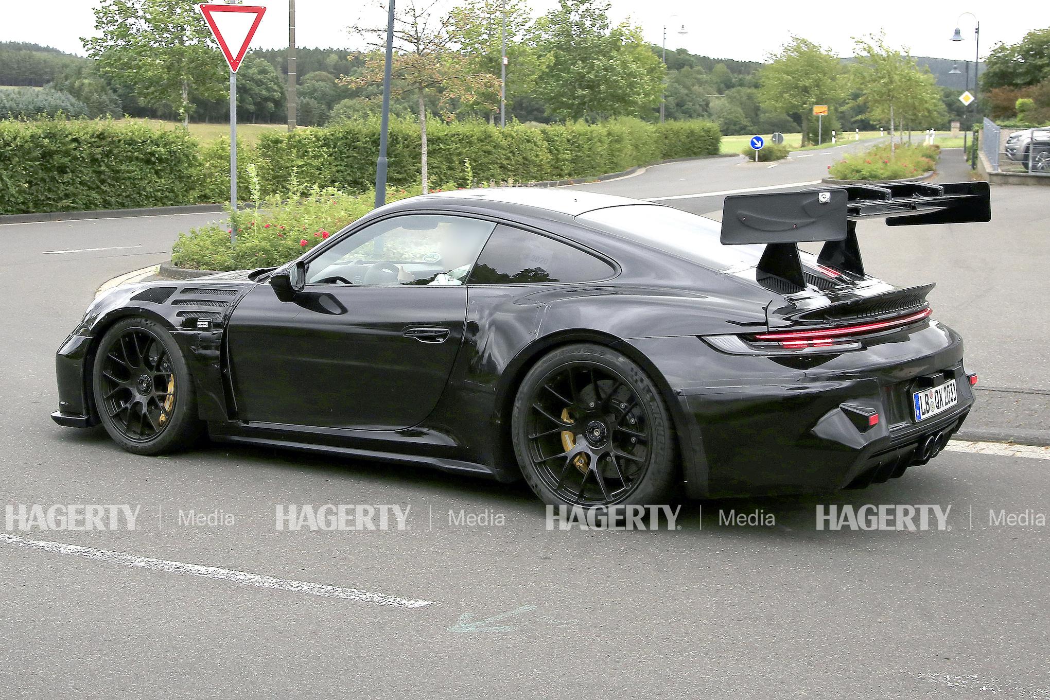Porsche 911 GT3 RS rear three-quarter test drive action
