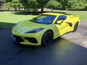C8 bright yellow corvette front three-quarter