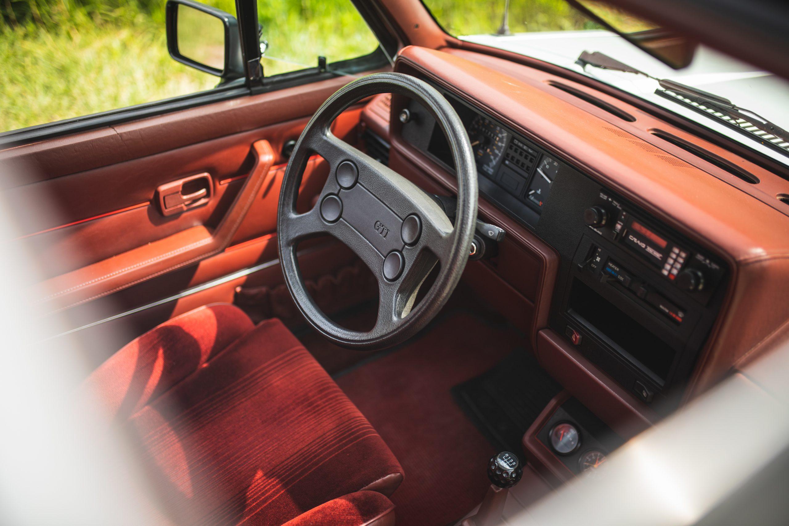 retro volkswagen rabbit gti hatchback steering wheel