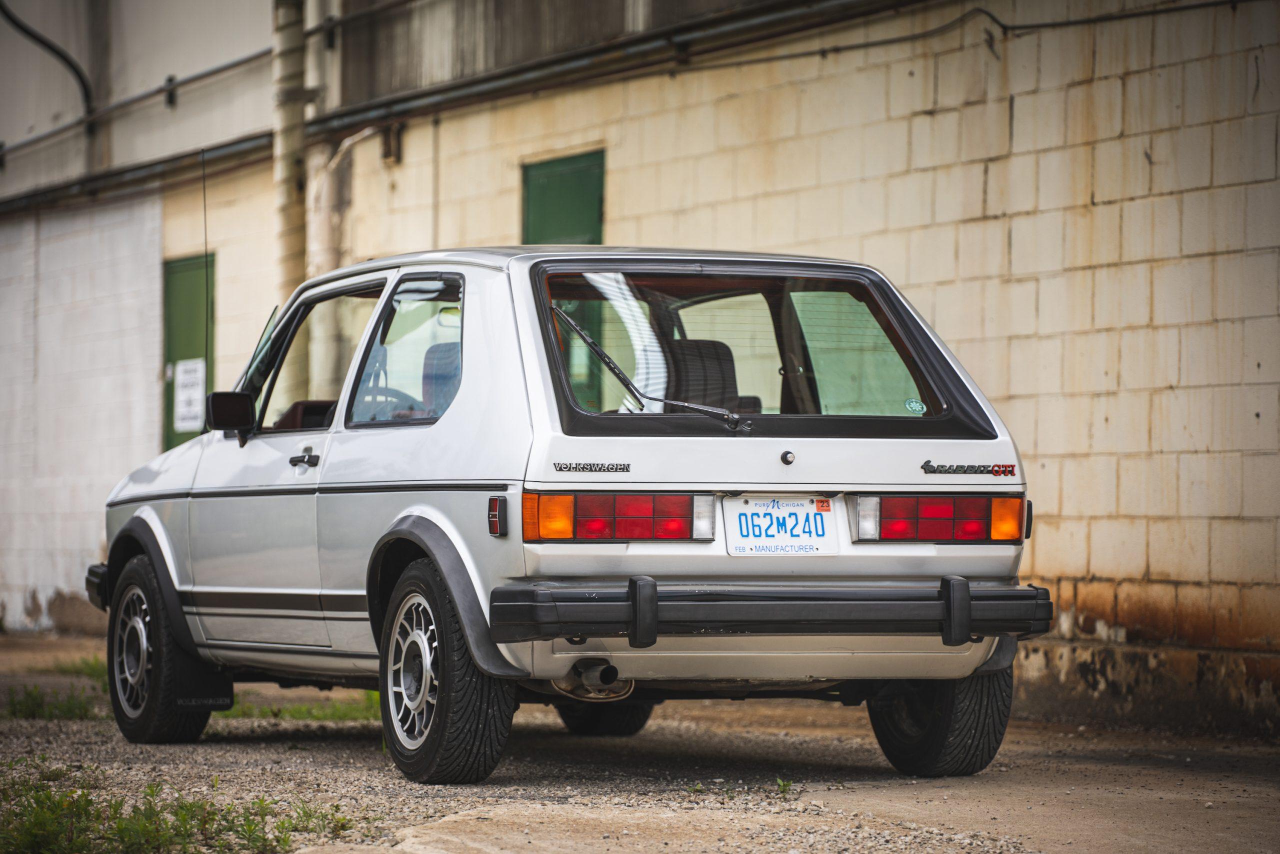 retro volkswagen rabbit gti hatchback rear three-quarter