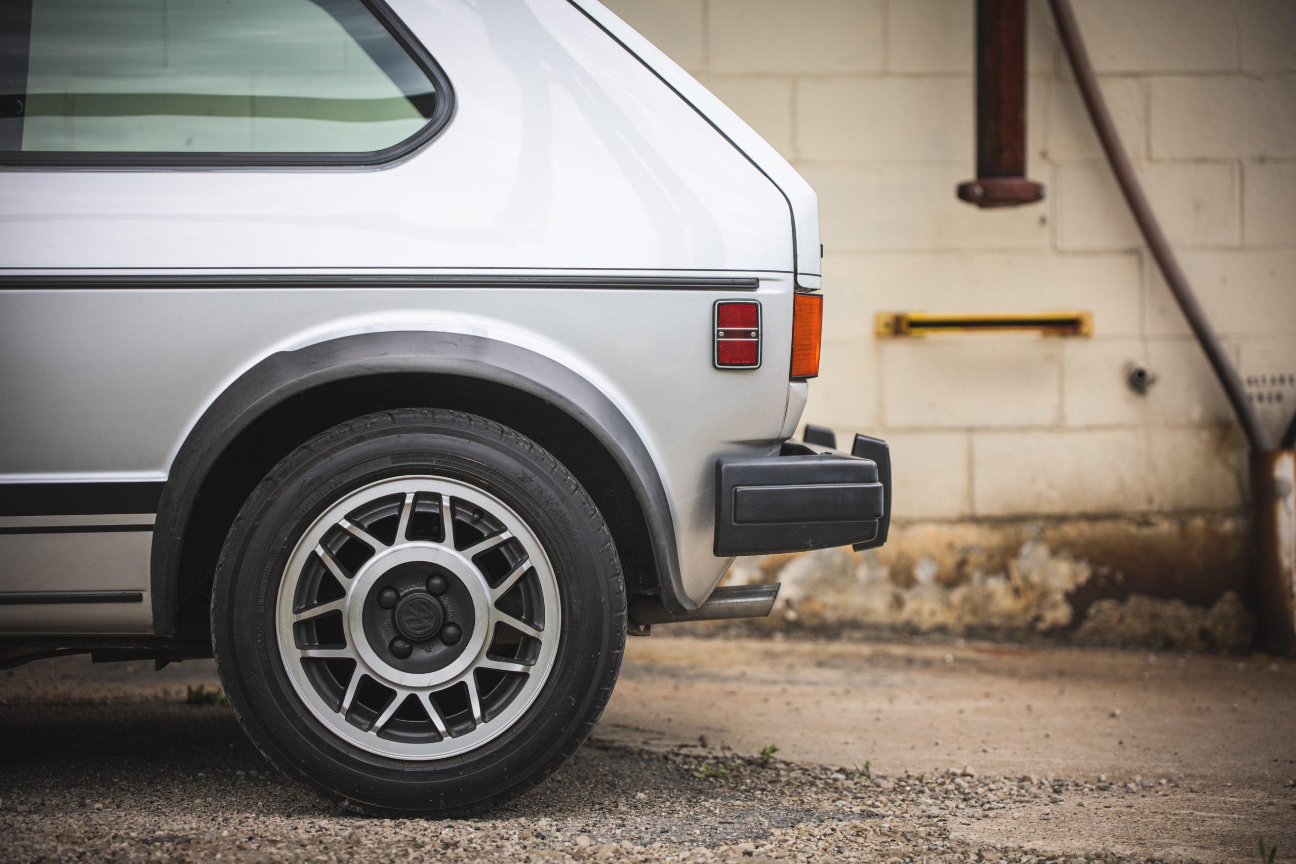 retro volkswagen rabbit gti hatchback rear half side profile