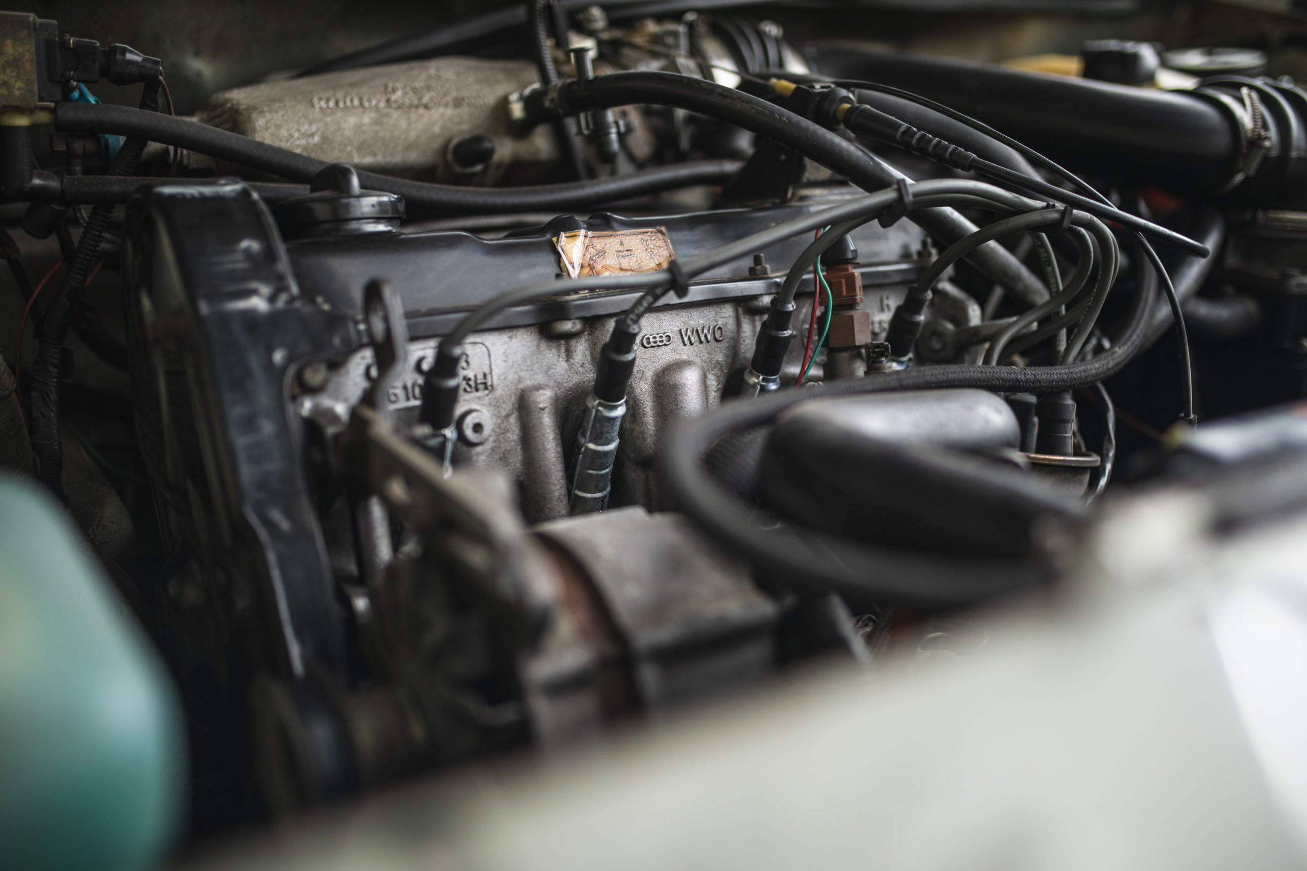 retro volkswagen rabbit gti hatchback engine close up