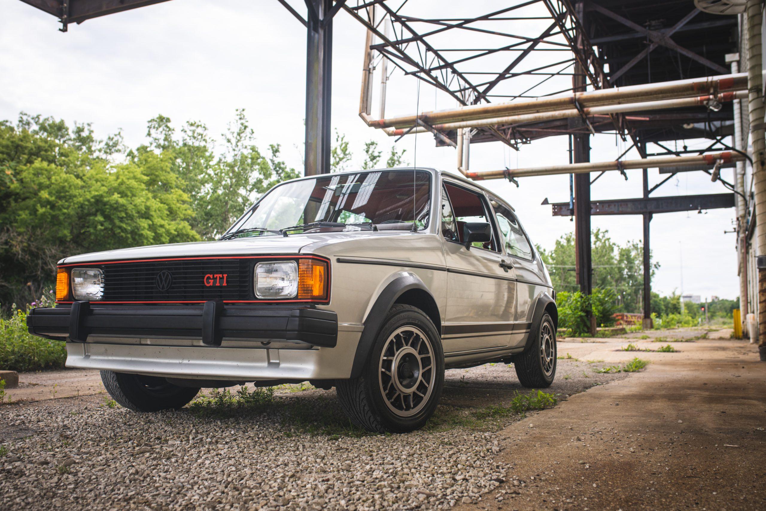 retro volkswagen rabbit gti hatchback front three-quarter