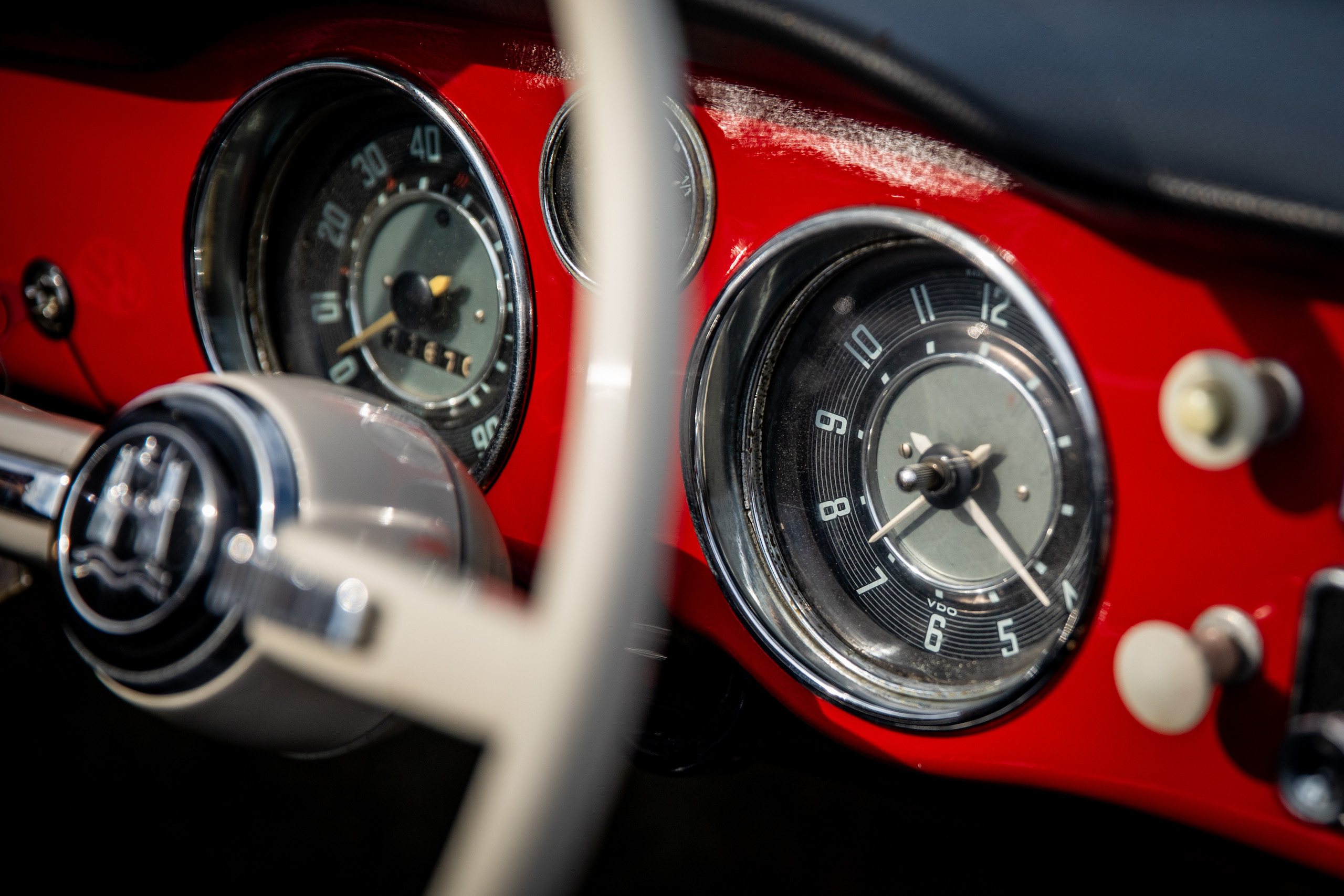 red karmann ghia gauges