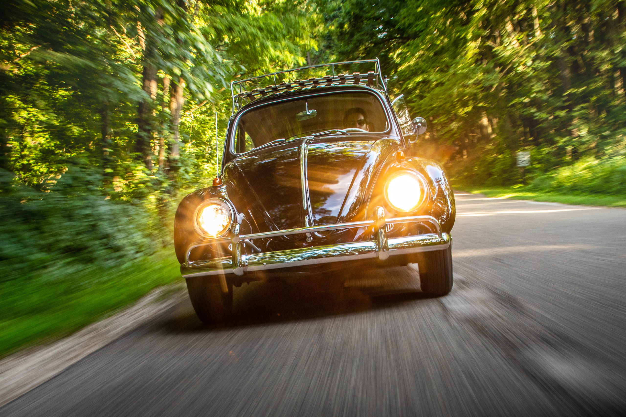 volkswagen beetle bug front driving action angle