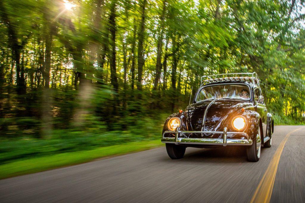 volkswagen beetle bug front driving action