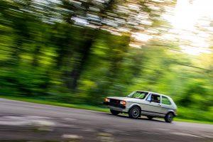 volkswagen rabbit gti front three-quarter action