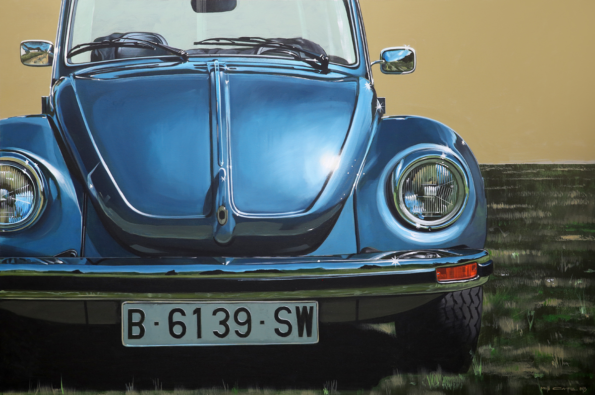 blue beetle front retro graphic art painting