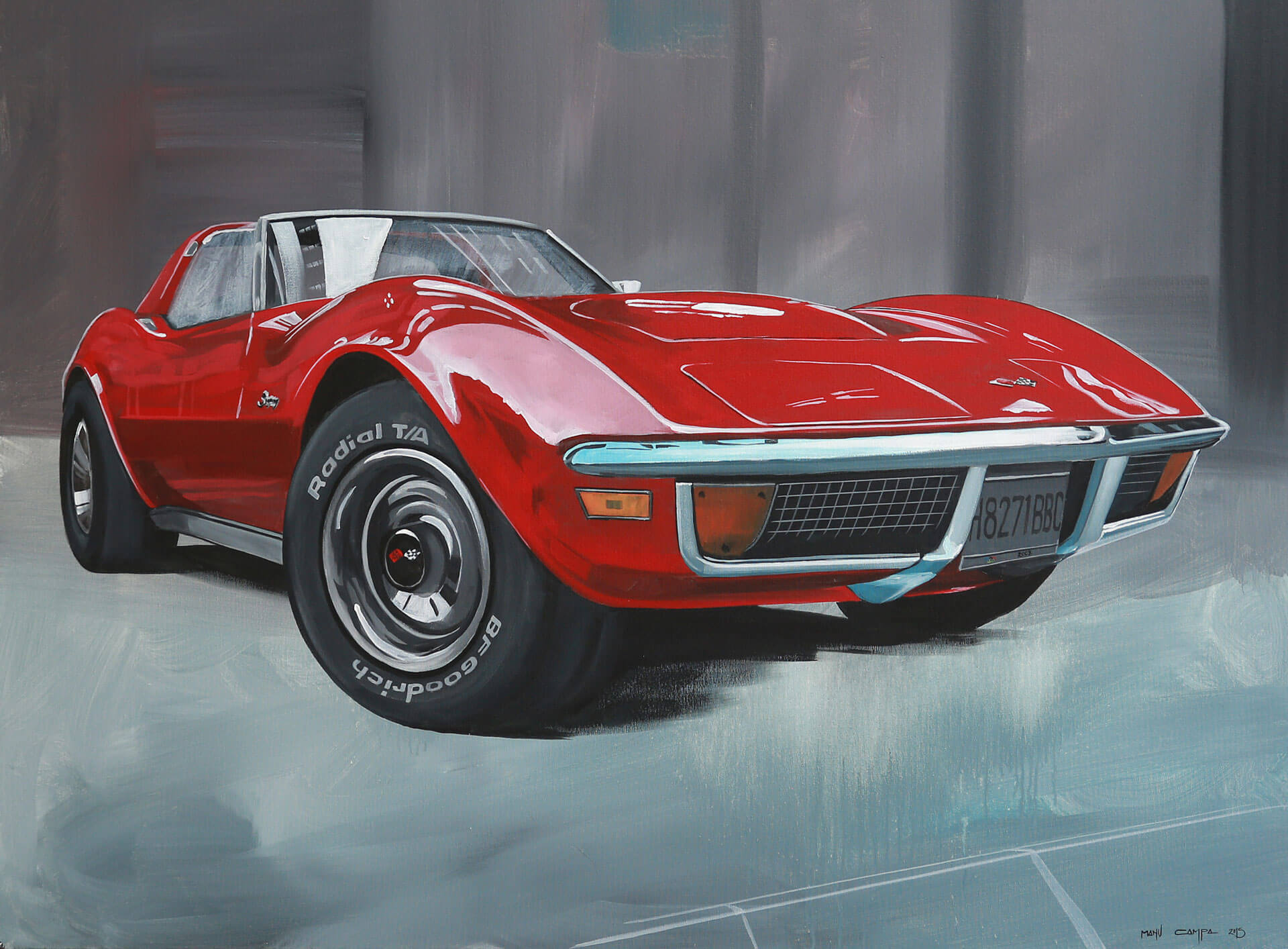 red corvette front three-quarter retro graphic art painting