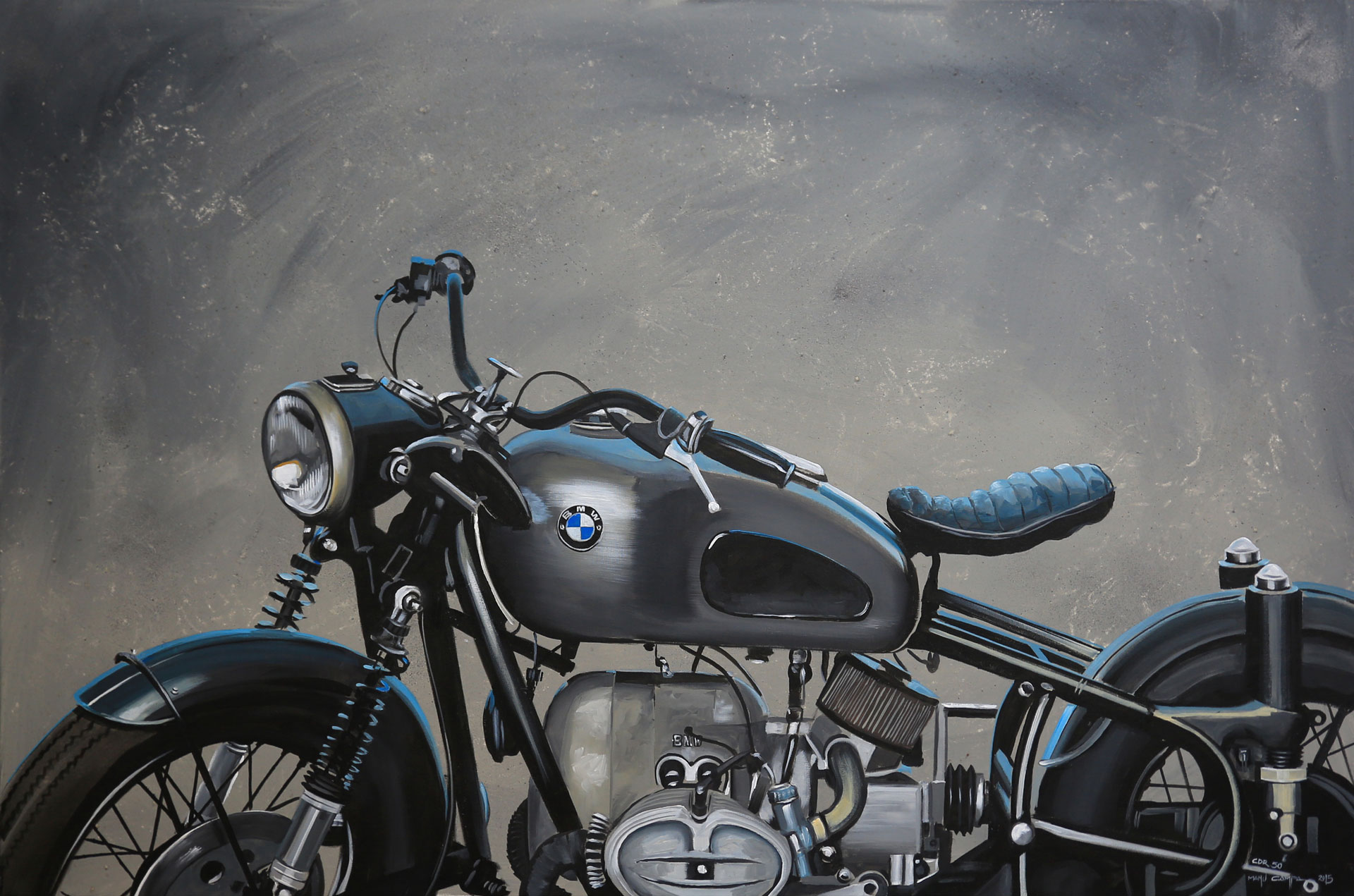 vintage retro bmw motorcycle graphic art painting
