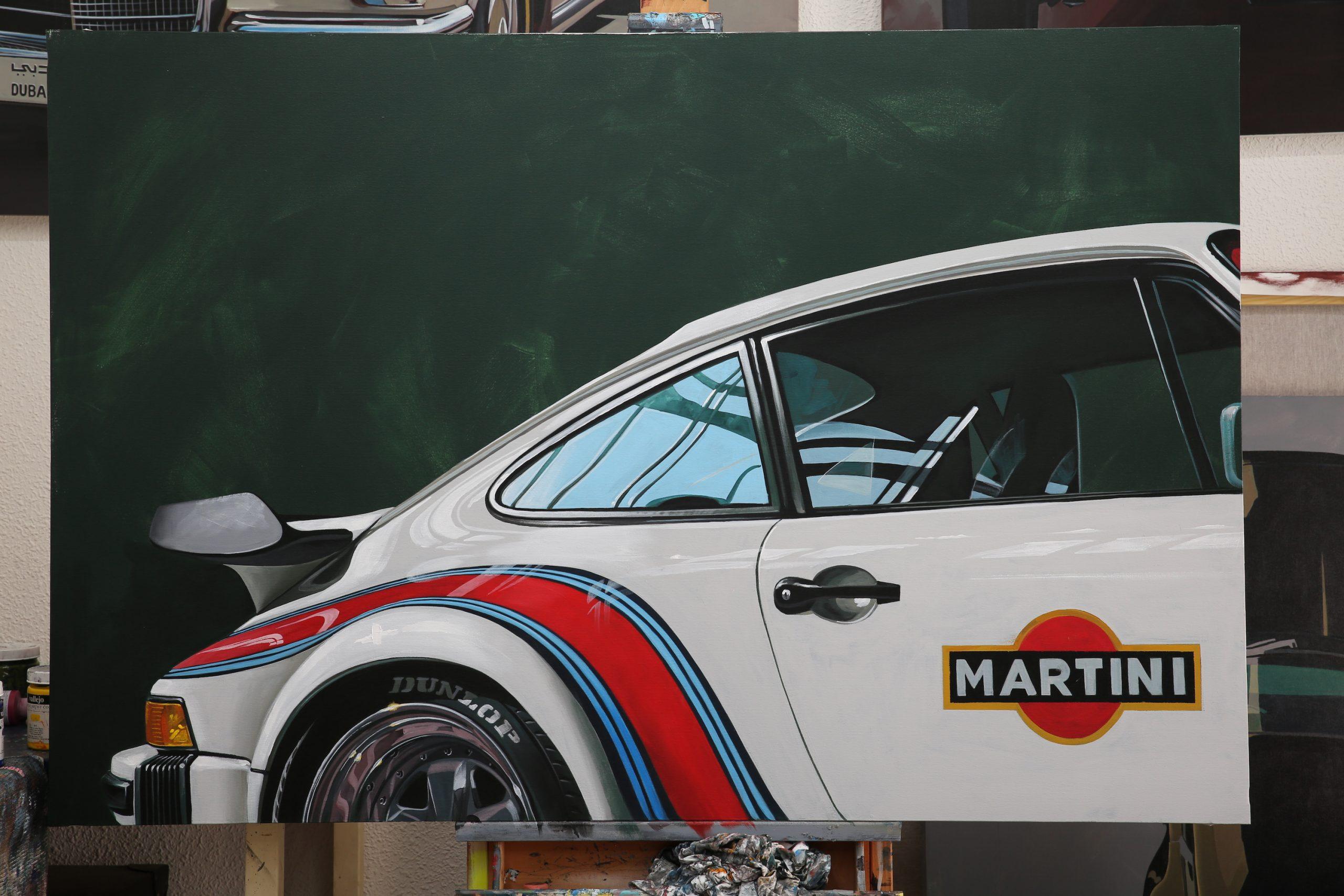 white martini motorsport porsche painting art rear quarter