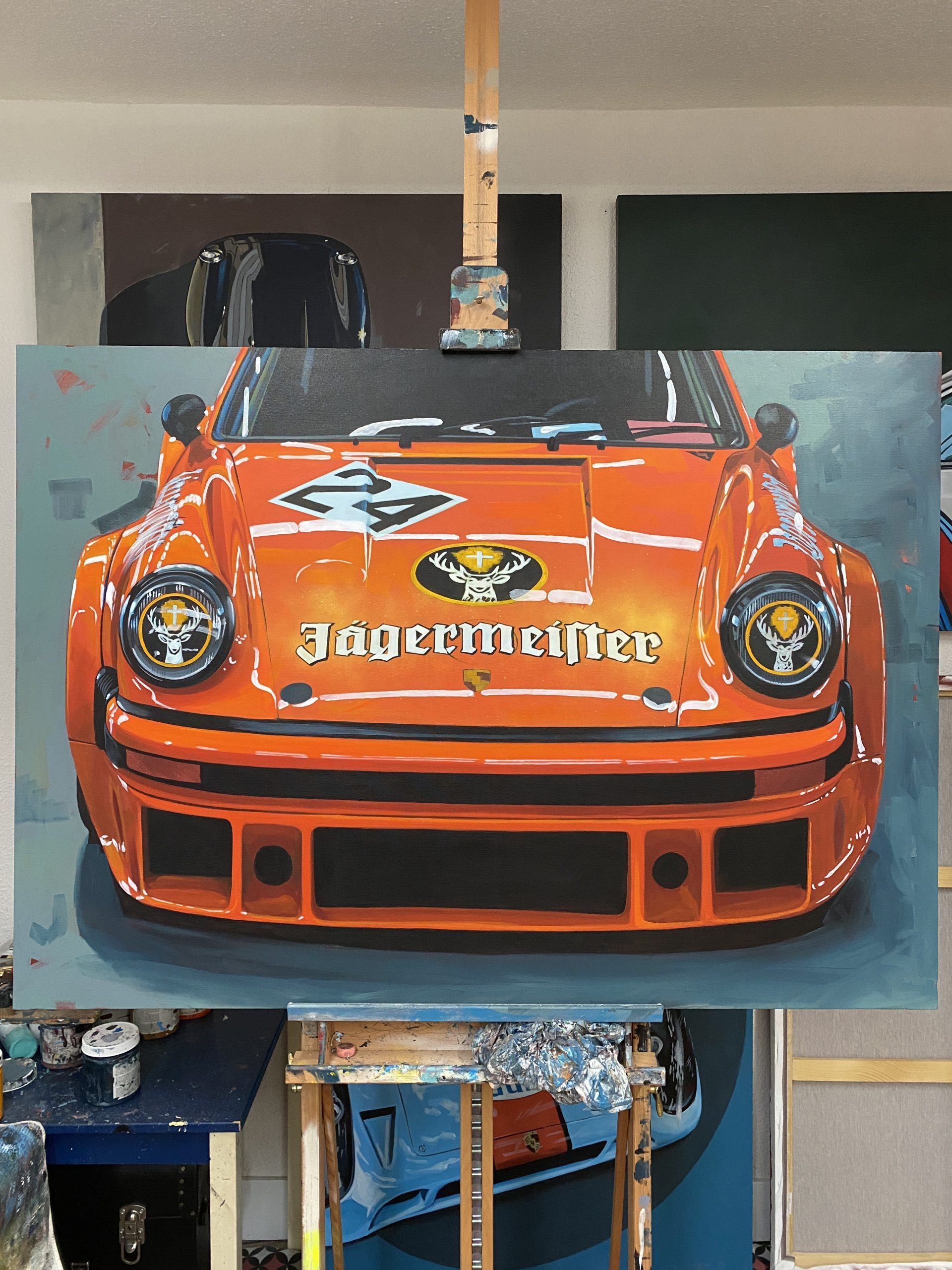 motorsport porsche graphic art painting in jagermeister livery