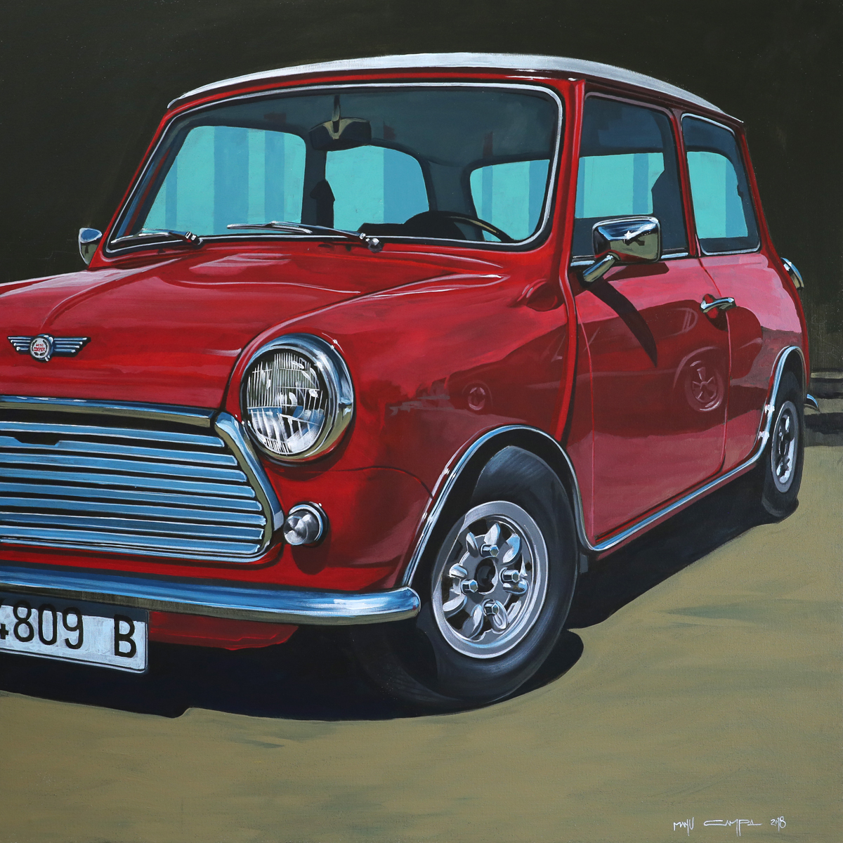 red retro classic mini cooper front three-quarter graphic painting art