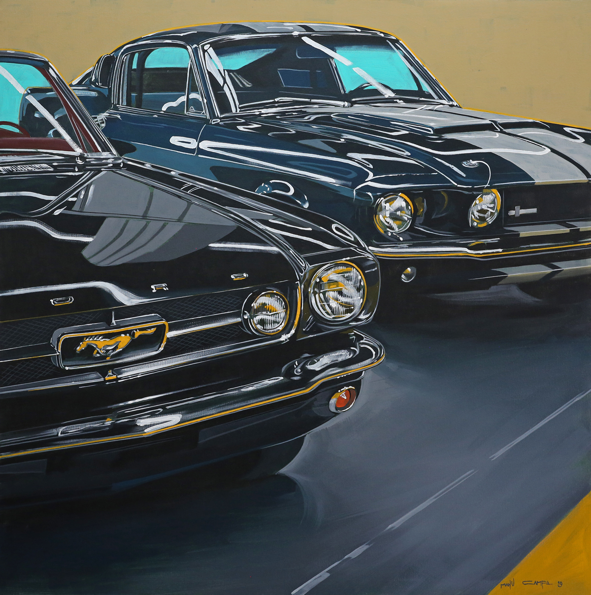 classic muscle car ford mustangs graphic art painting
