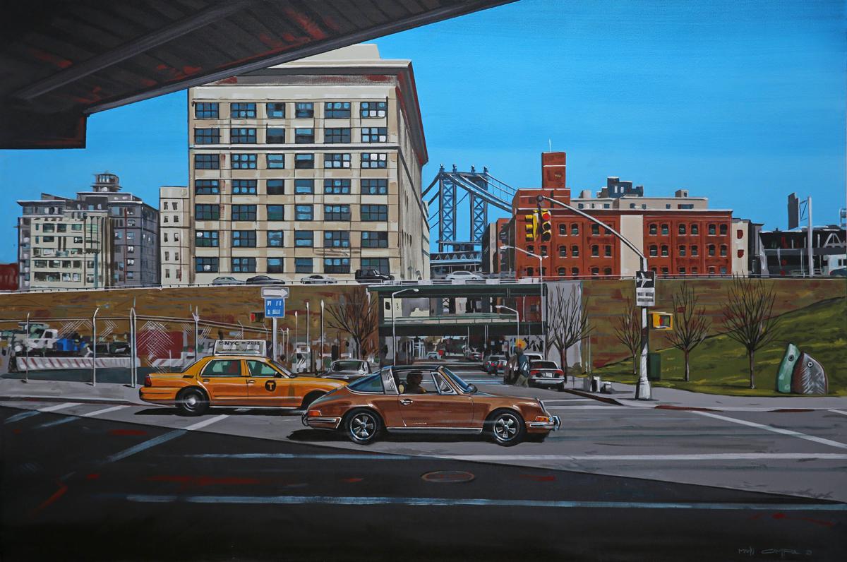 retro porsche 911 cityscape action graphic art painting