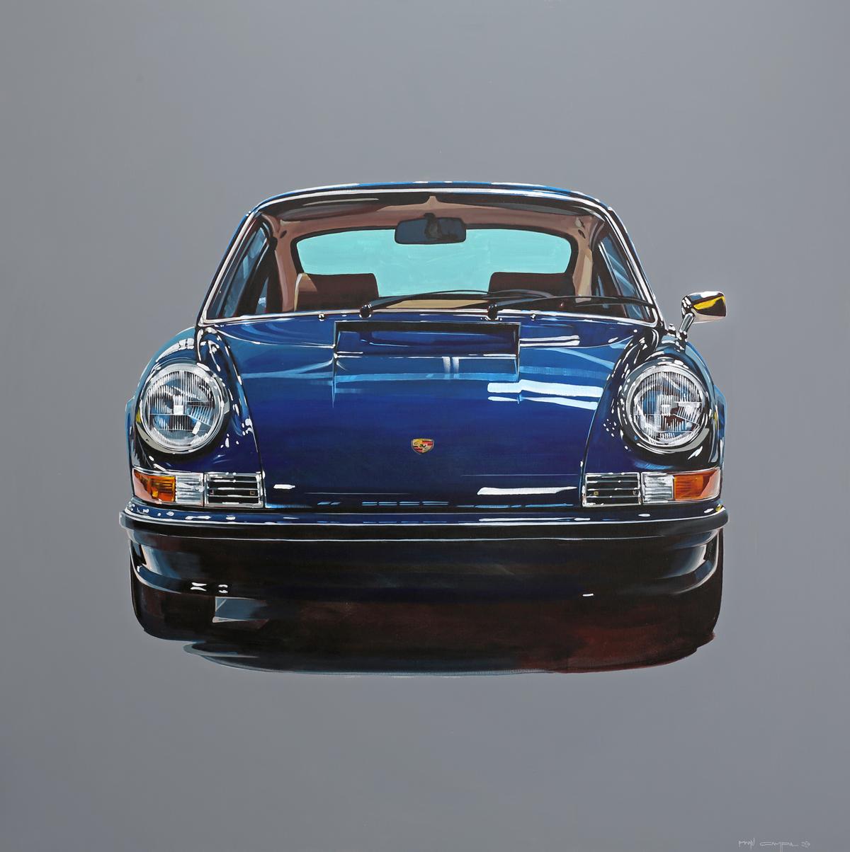 retro blue porsche 911 front graphic art panting