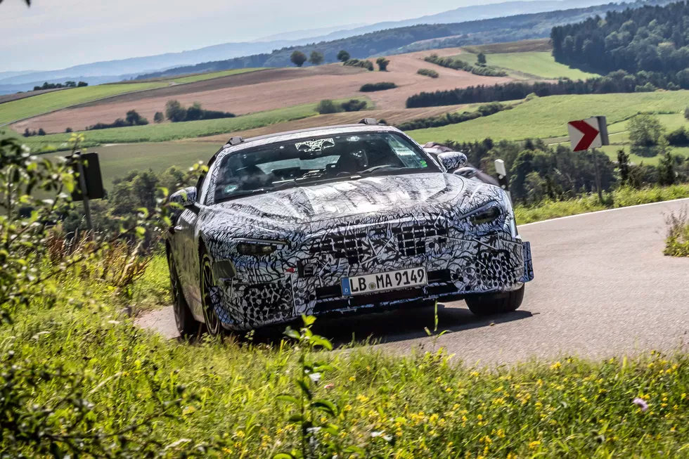 mercedes amg sl prototype front three-quarter dynamic action