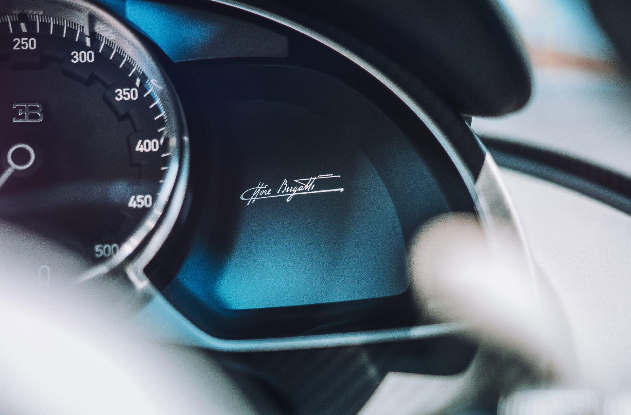 Bugatti Divo detail shot interior instrument cluster tachometer
