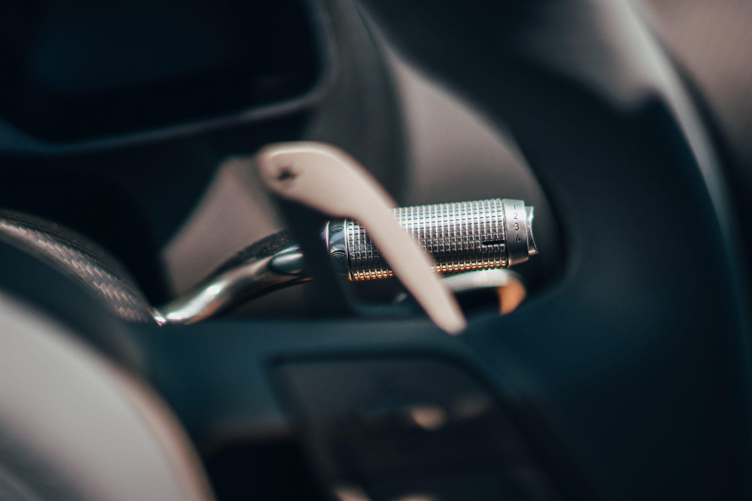 Bugatti Divo detail shot interior stalk