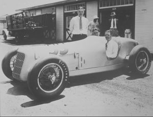 Driver George Miller is seated in one of four Miller-Fords entered into the 1935 Indianapolis 500