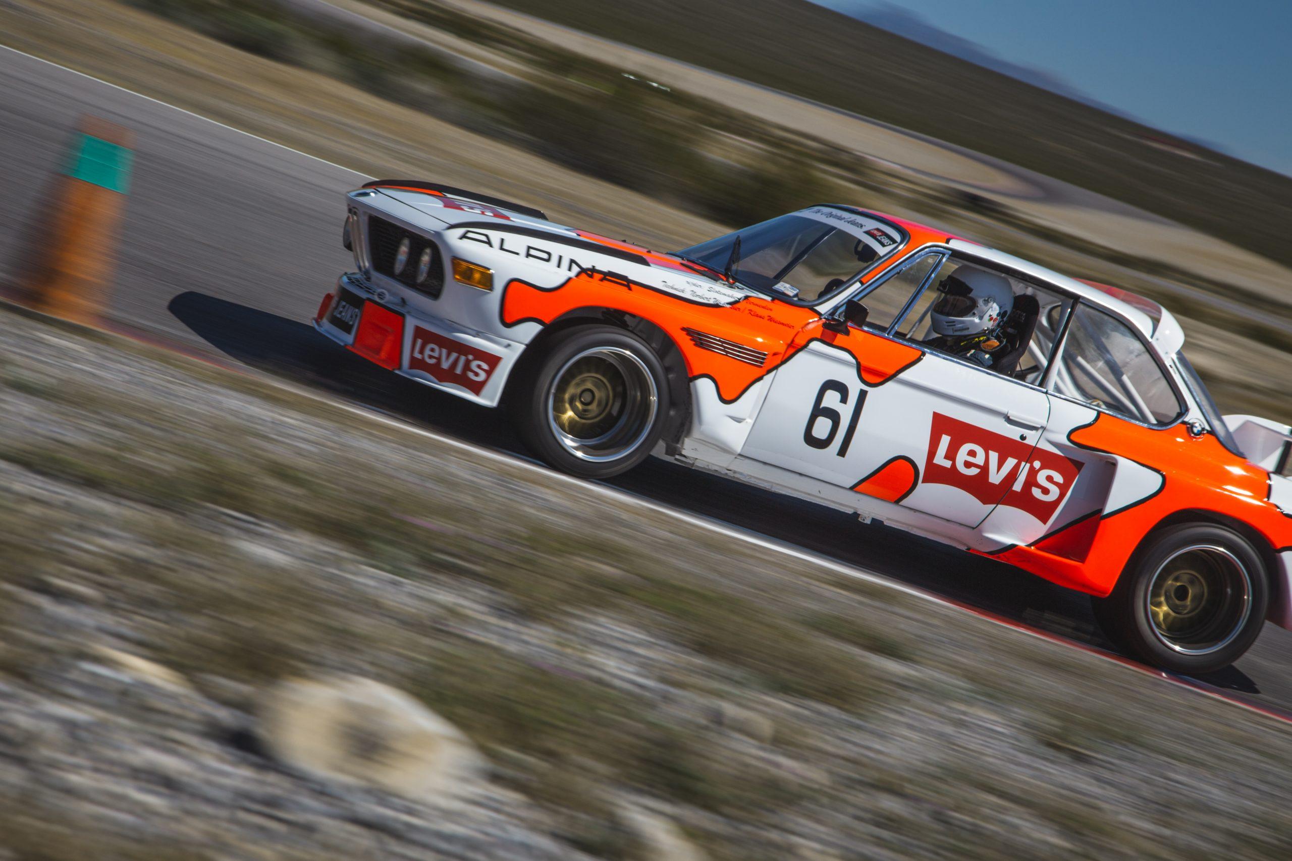 BMW 3.0 CSL Batmobile Levis track driving