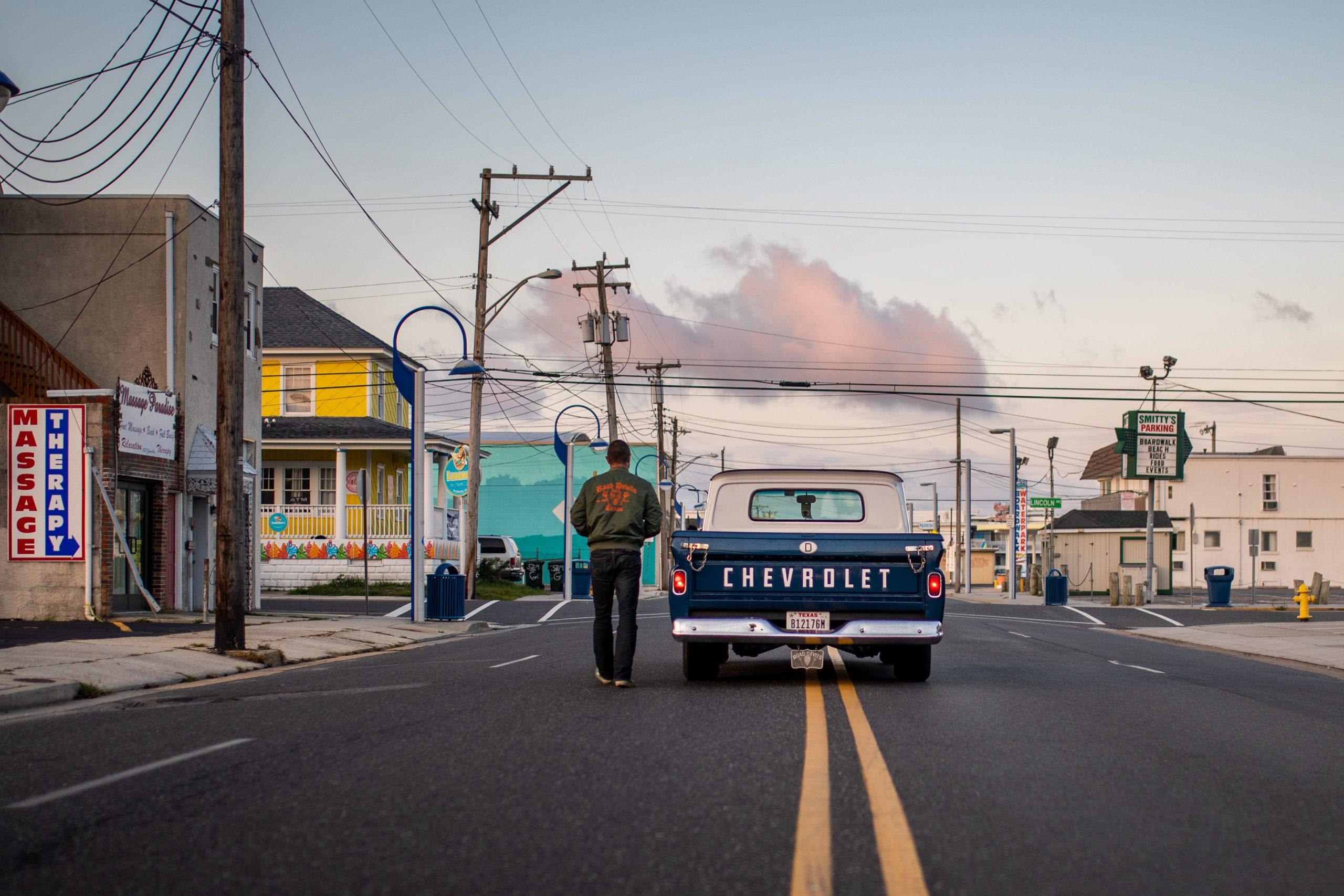 chevrolet hot rod pickup rear street action